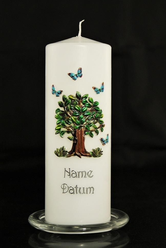 Geschenk Kerze Kerze Mit Baum Motiv Baum Motiv Taufkerze Mit